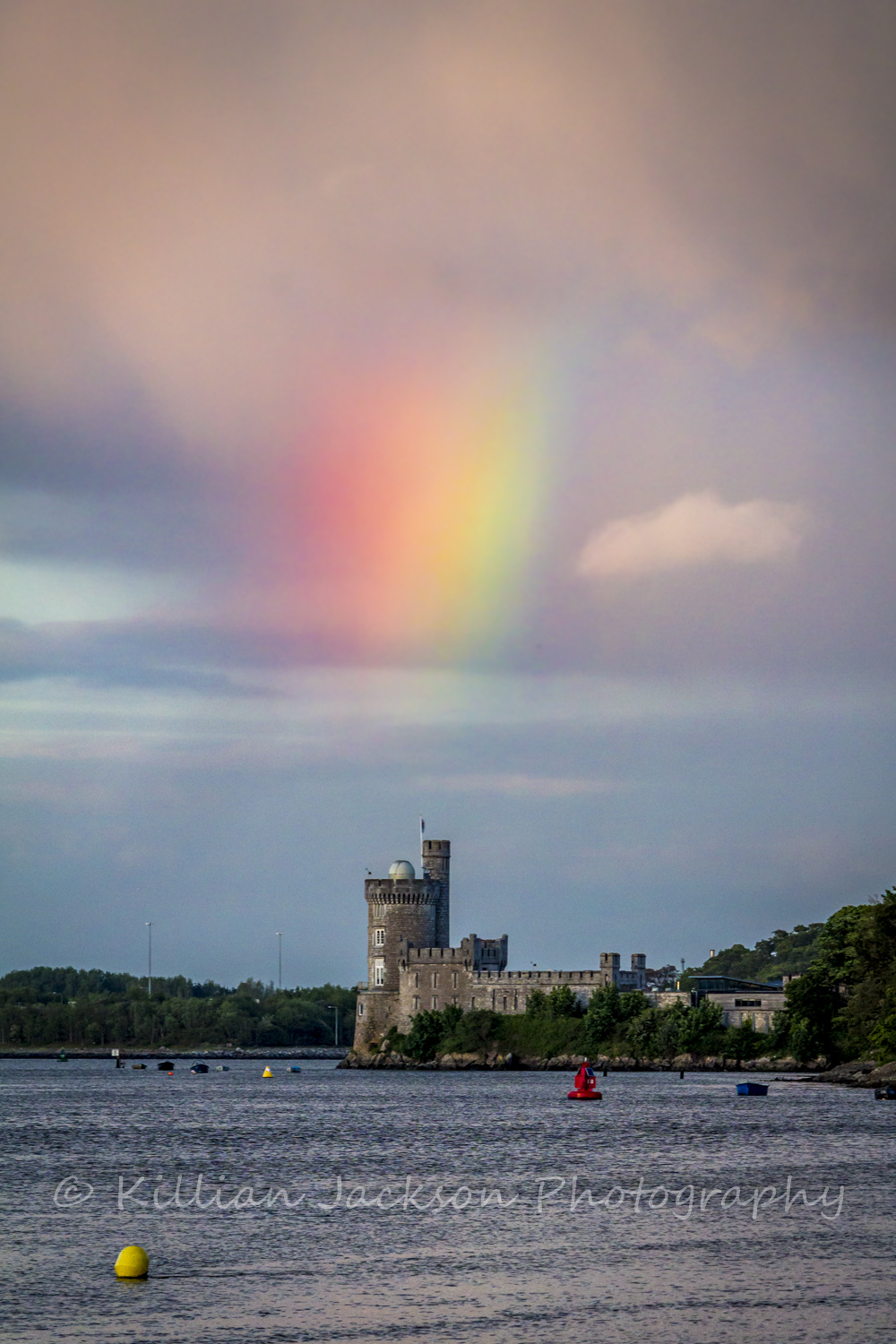 blackrock, castle, river lee, cork, rainbow