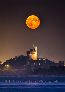 blackrock, castle, river lee, cork, moon, supermoon