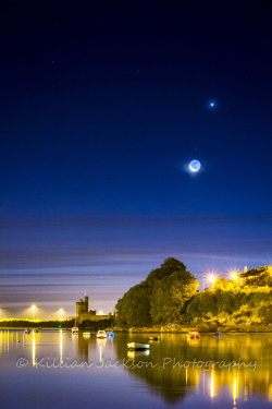 mercury, mars, crescent moon, moon, venus, blackrock, blackrock castle, cork, cork city, ireland, river, river lee