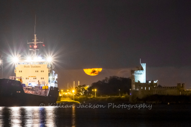 river, river lee, moon, blackrock, blackrock castle, cork, cork city, ireland