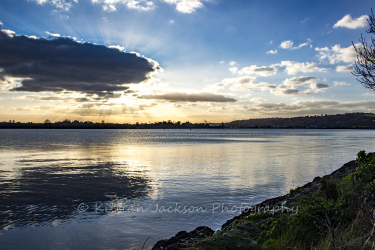 lough mahon, crepuscular rays, cork, cork city, ireland, river, river lee