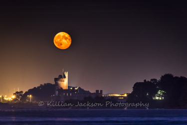 supermoon, moon, blackrock, blackrock castle, cork, cork city, ireland, river, river lee