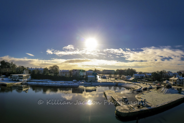 drone, mavic 2 pro, snow, blackrock, village, cork, cork city, ireland, river, river lee