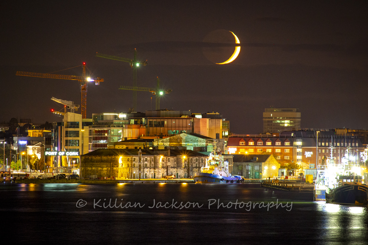crescent, moon, cork, cork city, ireland, river, river lee